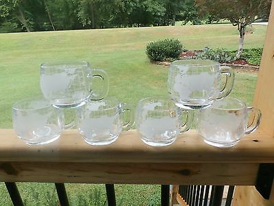6 NESTLE NESCAFE Vintage 1970's Etched Glass World Globe Coffee Cups Mugs Promo