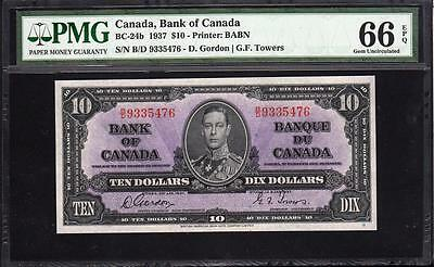 GEM 1937 $10 Ten Dollar BANK OF CANADA PMG 66 EPQ BC-24b Canadian Low POP!!!