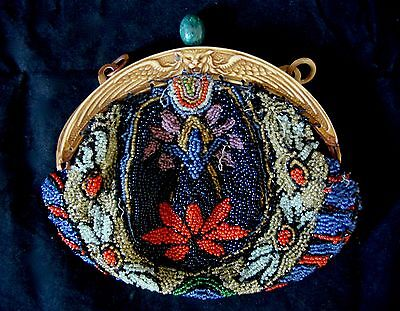 Antique Elaborately Glass Beaded Handbag, Celluloid Clasp with Winged Lion