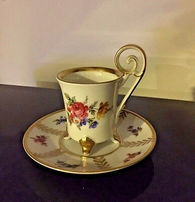 Rare Vintage Edelstein Footed Demitasse Cup & Saucer Gold Trim w Scrolled Handle