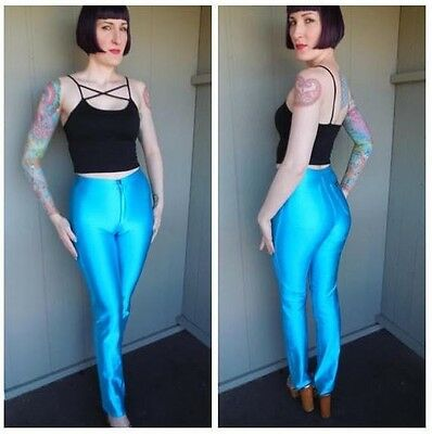 Vintage 1970s Frederick's of Hollywood Blue Shiny High Waist Disco Pants Medium
