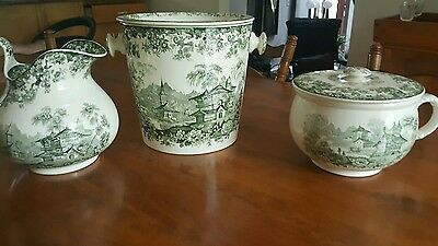 Antique 1871 Minton Green & White set genevese oattern  Made In England