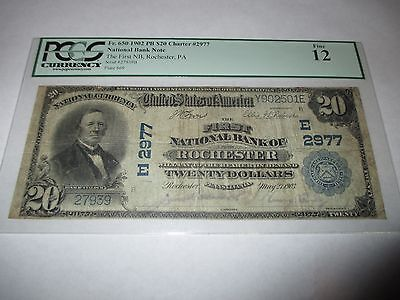 $20 1902 Rochester Pennsylvania PA National Currency Bank Note Bill #2977 PCGS