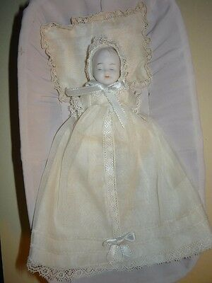 Shackman Bisque 4 inch Dressed Sleeping Baby Doll