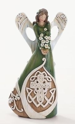 "7"" Luck of the Irish Woodcut Inspirational Angel Figure with Celtic Cross"