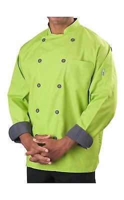 Mens Long Sleeve Active Chef Coat Lime Green With Slate Accent Large