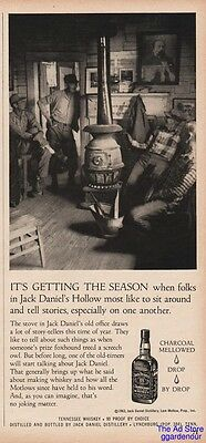1963 Jack Daniels Tennessee Whiskey Telling Stories Pot Belly Stove Print Ad