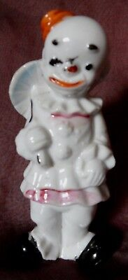 Vintage CLOWN figurine with hat & umbrella pink trim on clothes Japan marked