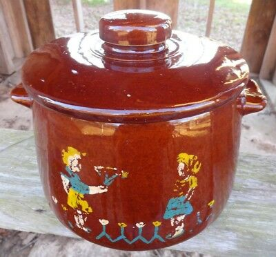 Vintage WESTBEND Boy/Girl Cookie Jar or Bean pot with Lid Glazed brown pottery