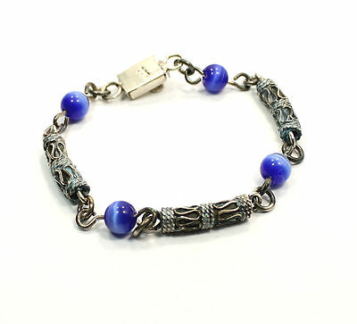 "Colourful Unique Design  6 inch ""3 Barrel 4 Blue Bead"" Estate Bracelet Sterling"