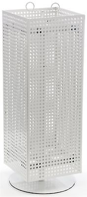 "Displays2go Counter Pegboard Spinner Rack Magnetic 28"" White Steel (MD4PCTWH)"