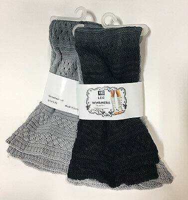 2 Pairs Women's Black/Gray Ombre Knit Leg Warmers