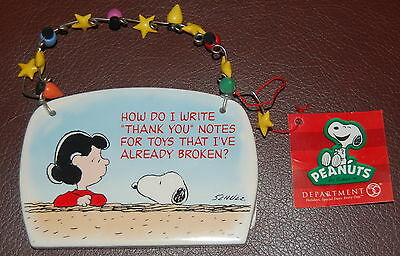 Peanuts Dept 56 Holiday Plaque Lucy and Snoopy