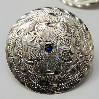 "Engraved Sterling Overlay Concho w/ Blue Gem, 1 1/2"", Horse Saddle Bridal Loop"