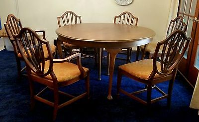Hepplewhite Style dining set 6 Shield Back Chairs and Dining Table with 2 Leaves