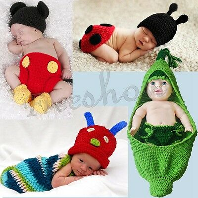 Newborn Boy Girl Baby Crochet Knit Costume Photography Prop Hat Outfit Halloween