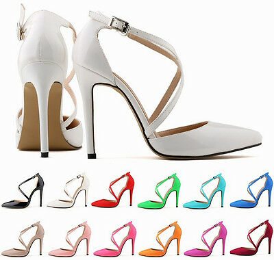 Woman Lady Sexy Party Club High Heels Leather Pumps Shoes Sandals Ankle Strappy