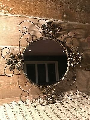Vintage Round Bronze Gold Tone Metal Mirror Flower Design