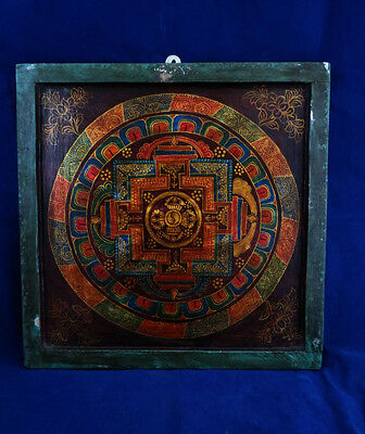 Antique Old Kalachakra Mandala Hand Painting on Wooden Ply with Frame Nepal