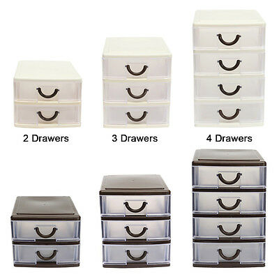 Plastic Drawer Small Tower Storage Unit Office Cosmetic School Home Organiser