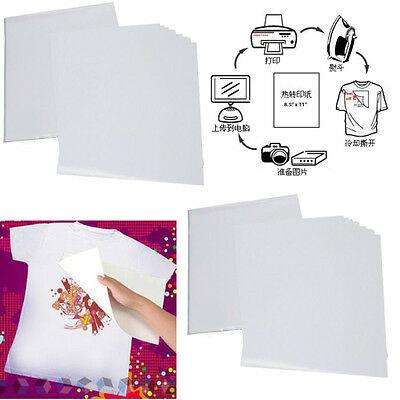50Pcs A4 Heat Transfer T-Shirt Laser/Inkjet Iron-On Paper For Dark/Light Fabric