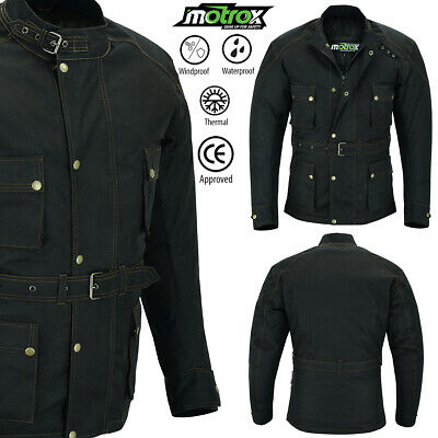 Mens Motorbike Motorcycle  Waterproof Cordura Black Textile Jacket Ce Armoured