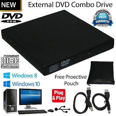 USB 2.0 External CD Rewriter DVD Drive Slim CD RW DVD ROM For All Laptop, PC UK