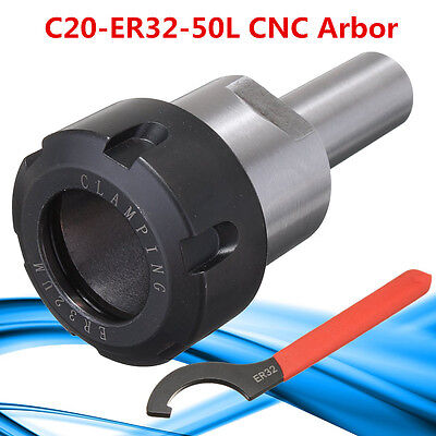 C20-ER32-50L CNC Arbor Straight Shank Collet Chuck Holder 20MM Dia Tool + Wrench