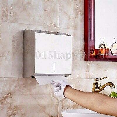 Brushed Stainless Steel Metal C Fold Paper Hand Towel Wall Dispenser Silver UK