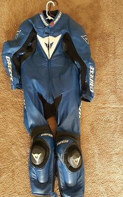 Dainese Competition Motorcycle One Piece Leather Suit Men's Size 52 Black  Red