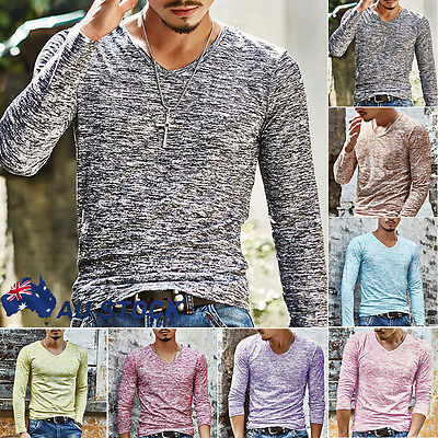 AU Men's Printed V Neck Long Sleeve T Shirt Top Casual Slim Fit T-shirt Tee Tops