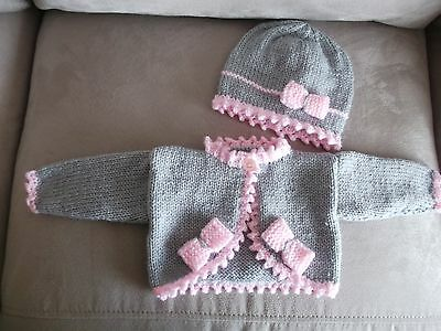"""hand knitted   bolero and beanie hat  0 to 3 month size 16"""""""
