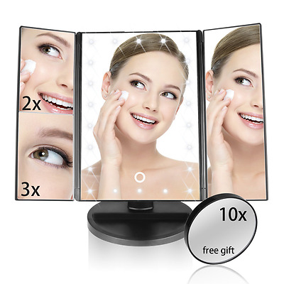 Led Illuminated Trifold Makeup Vanity Mirror With Lights & Micro USB Cable