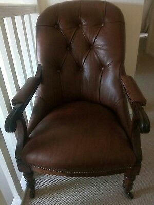 Genuine Antique  William IV rosewood chair, fully refurbished in tan leather.
