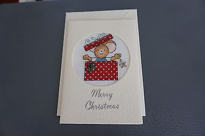Completed Christmas Cross Stitch Card Surprise Present