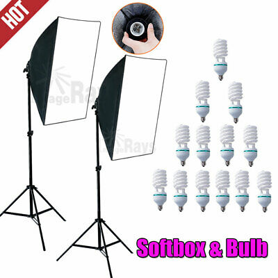 Photography Soft Box Softbox Light Stand Continuous Lighting Studio & Bulbs Kit