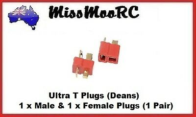 MissMooRC Ultra T (Deans) Plugs - 1 x Male & 1 x Female for cars, buggy,truck