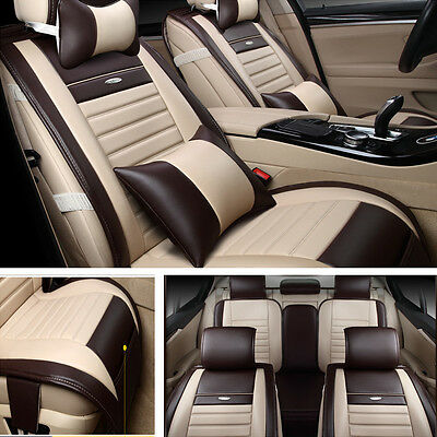 Deluxe Edition PU Leather 5-Seats In Car Auto Seat Cover Mat Chair Cushion Beige