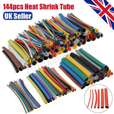 144Pcs Heat Shrink Tube Wire Wrap Car Electrical Cable Insulation Tubing 6 Sizes