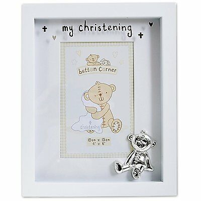 """Button Corner Wooden Photo Frame with silver icon My Christening White 4""""x6"""""""