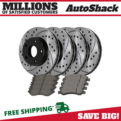 Front Rear (4) Drilled Slotted Rotors (8) Ceramic Brake Pads Fits 11-18 Ram 1500