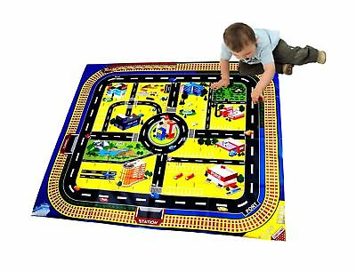Kids Giant City Playmat Floor Play Mat for Toy Cars Road Railway Train Tr... NEW