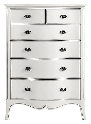 Ava Antique White Hand Carved French Style 6 Drawer Chest Of Drawers