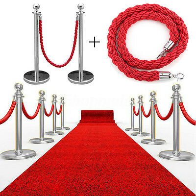 2Pcs Polished Steel Queue Rope Barrier Post Stand Stanchion + 1.5m Twiste Set UK