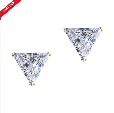 3.0 ct Triangle Brilliant Cut Stud Earrings Solid 14k Yellow Gold Screw Back