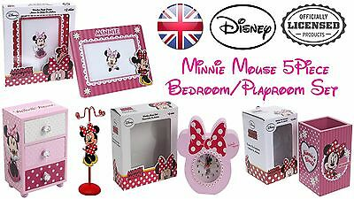 Disney Minnie Mouse 5Pcs Wooden Bedroom Jewellery Storage Photo Clock Pen Pot