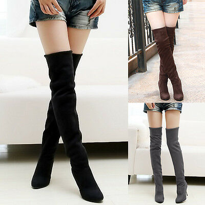 Fashion Womens Suede Over The Knee Boots Shoes Block High Heel Thigh Stretch XN