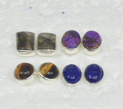 Wholesale 4Pair 925 Solid Sterling Silver Natural Tiger Eye Mixstone Earring Lot
