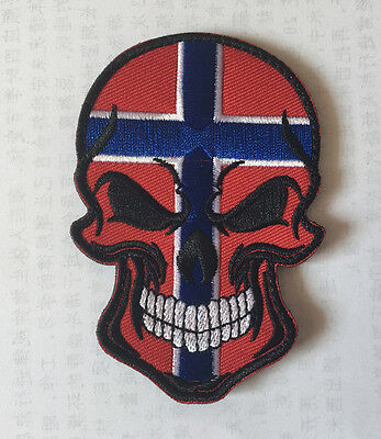 France Skull head MILITARY MORALE BADGES EMBROIDERED HOOK PATCH