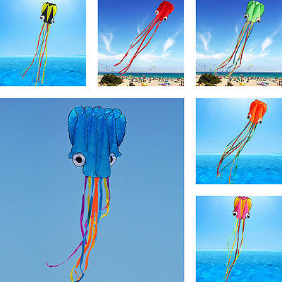 3D 4M Single Line Stunt Octopus Power Sport Flying Kite Outdoor Park Beach UK